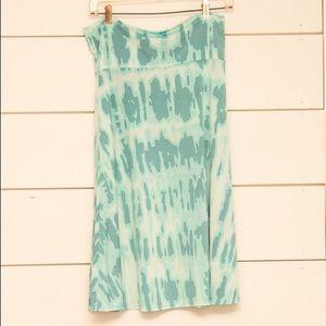 LuLaRoe Turquoise and White Azure Skirt, Size Lg